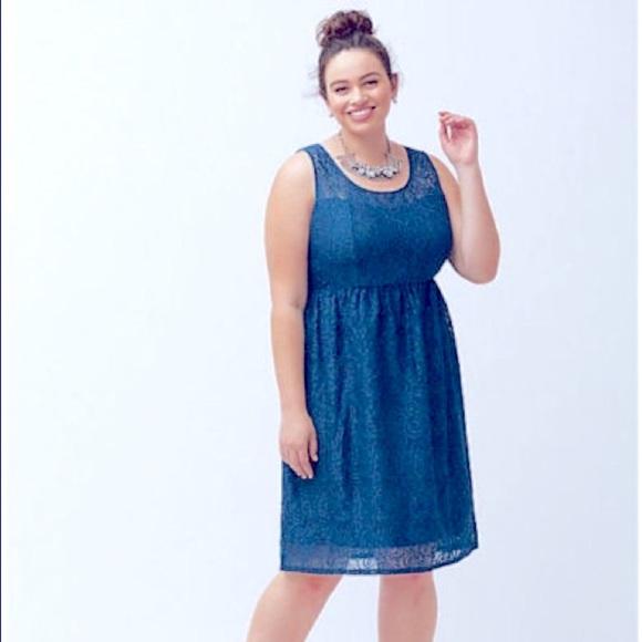Lane Bryant Illusion Lace Fit & Flare Dress Blue